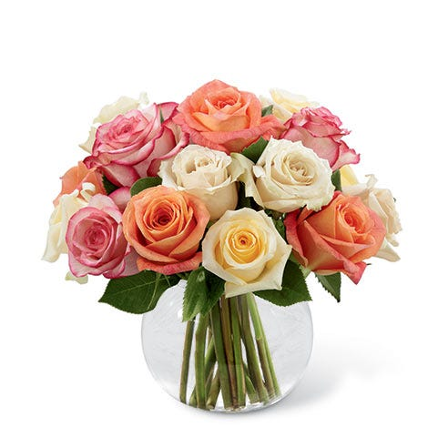 Bubble bowl mixed roses flowers bouquet with light pink, peach and white roses