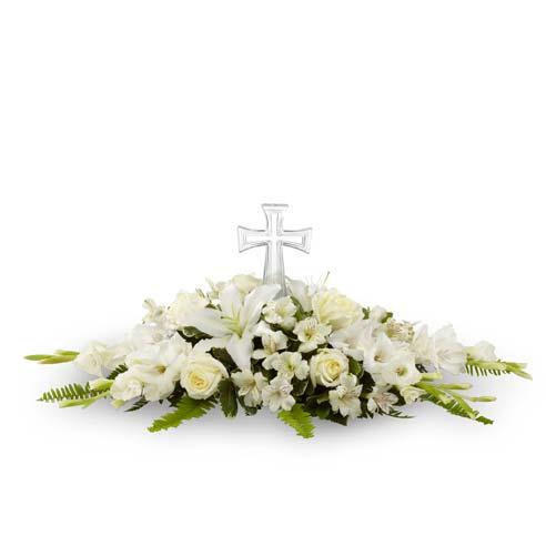 Cross sympathy flower arrangement and cross altar arrangement of white flowers