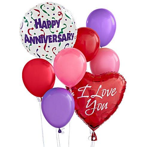 Happy anniversary balloon bouquet delivery with I love you mylar balloons