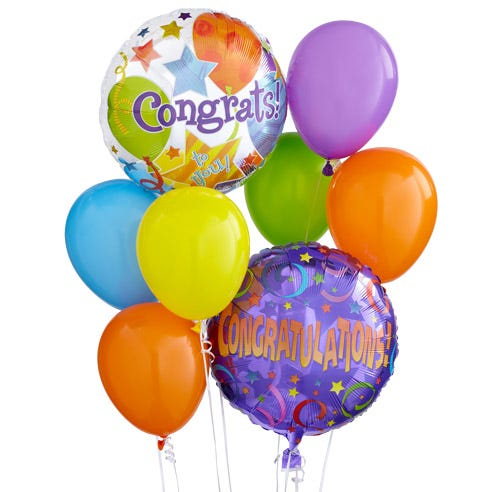 FTD congratulations balloon bunch, FTD congratulations balloons bouquet