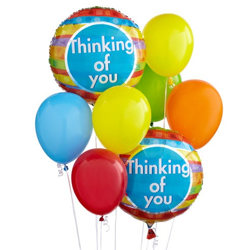 Balloon delivery with latex balloons in a thinking of you balloon delivery