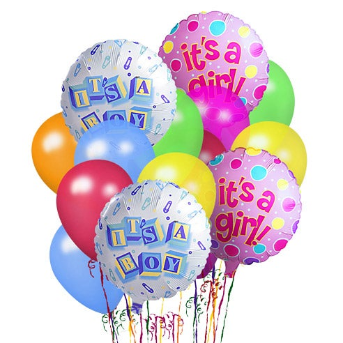 Same day balloon delivery of new baby balloons with mylar balloons