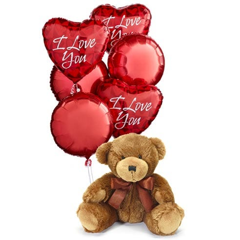 I love you balloons with plush teddy bear gift