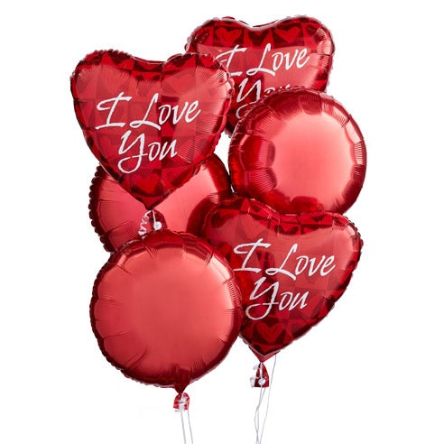 Valentines balloons that say I Love You inside balloon bouquets