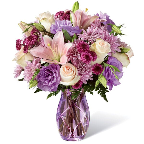 lavender flower bouquet with peach lilies and pale pink roses for cheap flowers delivery