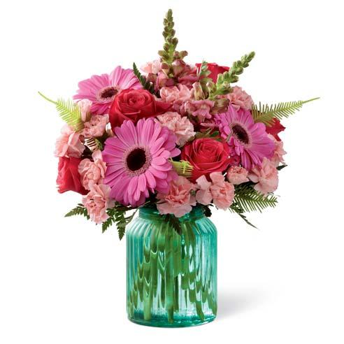 Turquoise mason jar flowers purple bouquet and purple flower centerpiece
