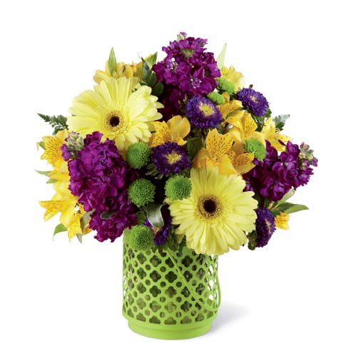 Yellow daisy bouquet with purple flowers and cheap flowers with lantern vase