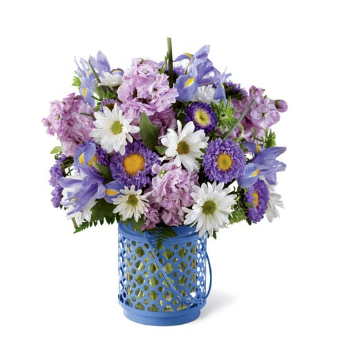 Iris flowers and white daisies in a blue lantern vase