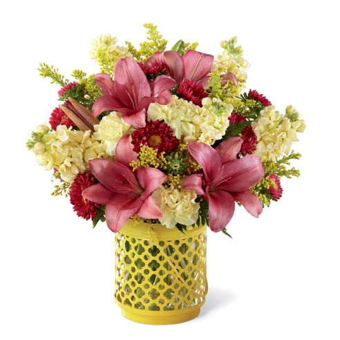 Pink lily bouquet with yellow carnations