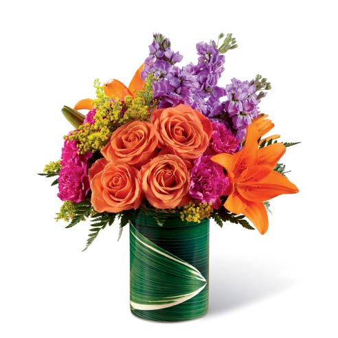 Orange rose bouquet and mixed bouquet with orange lilies and flowers