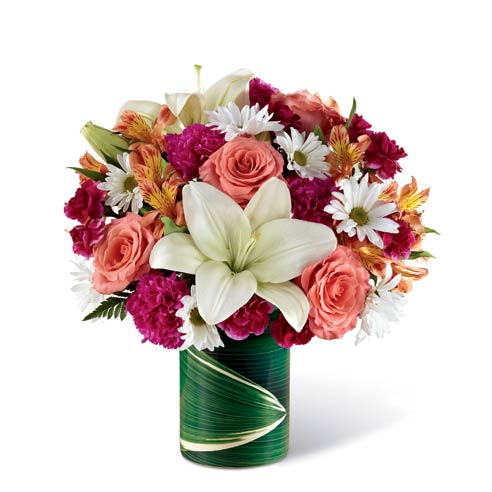 Rose and lily bouquet for cheap flower delivery of white lily & roses