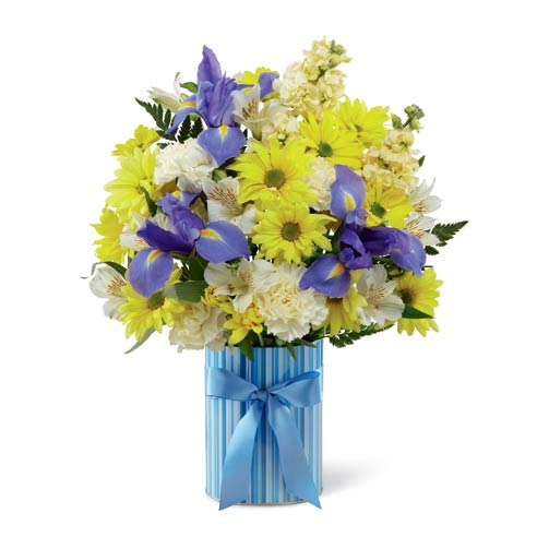 New baby flower bouquet of blue iris and yellow daisies