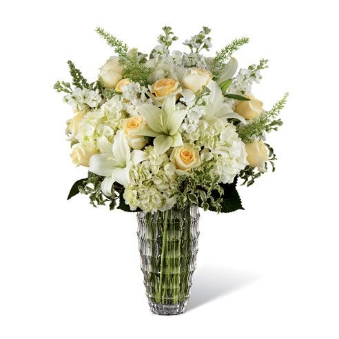 sympathy luxury white lily bouquet with white asiatic lilies, white roses and vase
