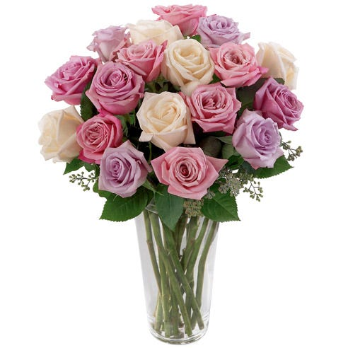 Long stemmed pastel roses cream, pink, and lavender roses bouquet
