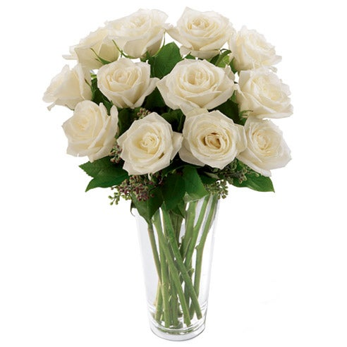 Long stem white roses in a clear glass vase online