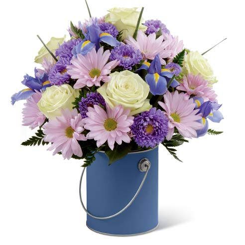Blue flowers bouquet with lavender daisy, pale green roses, and cheap flowers