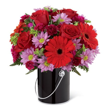 Red gerbera daisy bouquet for cheap flower delivery online in a black can vase