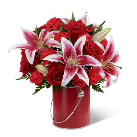 Red rose and stargazer lily bouquet with red paint can at send flowers