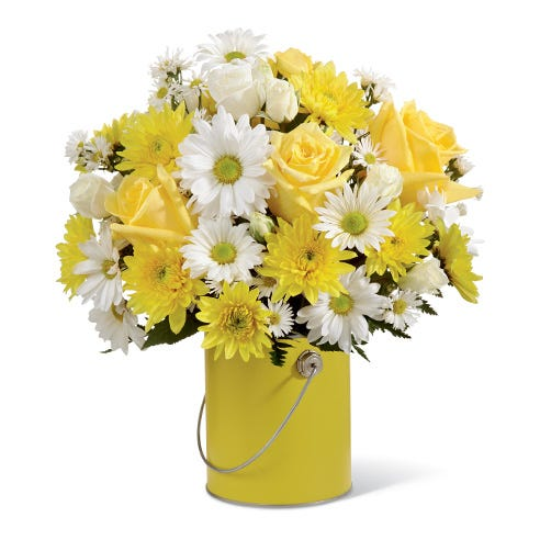 Yellow rose and white daisy paint can bouquet flower delivery at Send Flowers