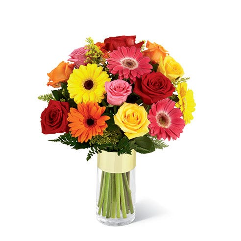 Gerbera daisy bouquet with pink, orange and red gerbera daisies