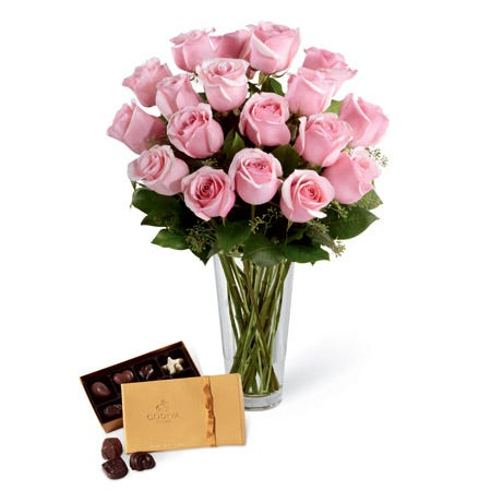 Valentine's Day ideas for her pink flowers and Godiva chocolate delivery