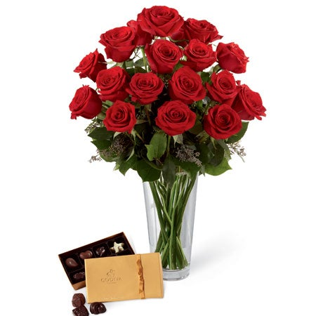 Long stem red roses fro valentines day flowers with chocolate delivery