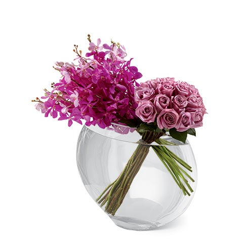 Purple modern flowers centerpiece and purple flower centerpiece