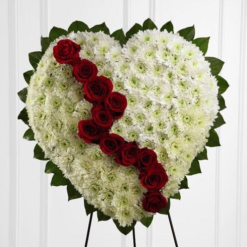 White and red rose bleeding heart standing spray