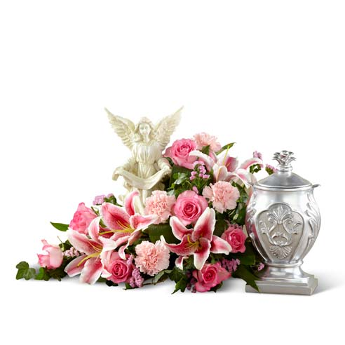 Pink red stargazer lily and white rose funeral flowers tabletop arrangement