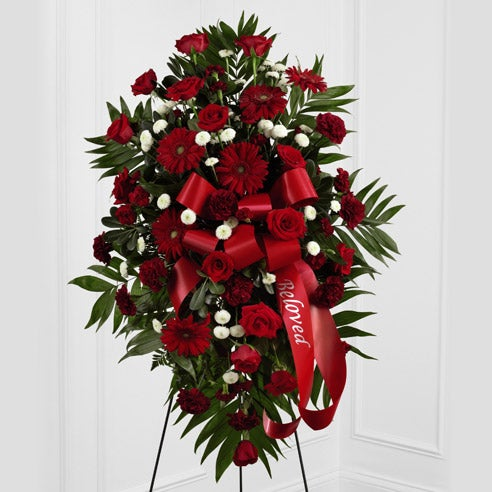 Flowers arrangement for funeral red rose standing spray oval shaped