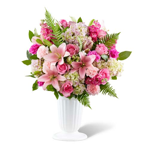 Sympathy flowers pink lily bouquet with cheap flowers, same day flowers