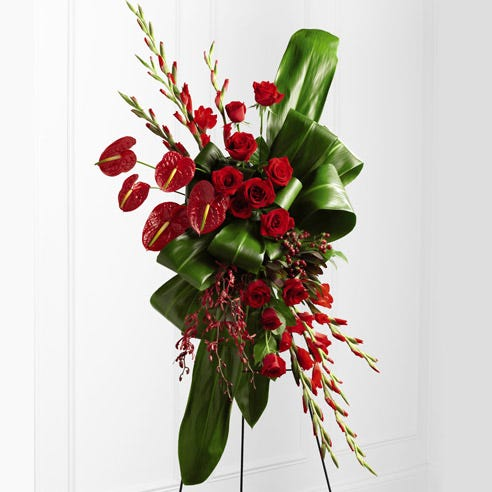 modern red roses standing spray delivery