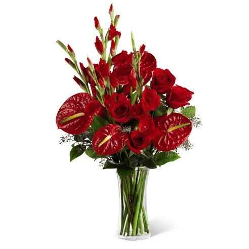 Sympathy bouquet of anthurium and roses