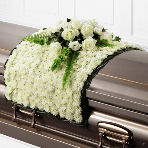 Casket flower blanket with roses, bells or ireland and chrysanthemums