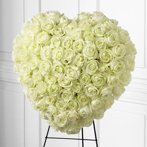 White rose sympathy cheap heart standing spray with white roses for funeral
