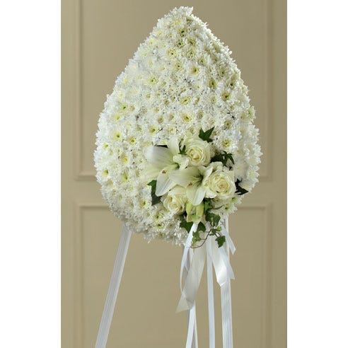 white flowers teardrop standing spray funeral flower delivery by send flowers