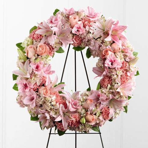 Pink sympathy wreath spray, wreath funeral flower delivery by send flowers
