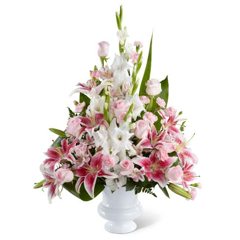 Florist arranged sympathy floral bouquet with pink roses and peruvian lilies