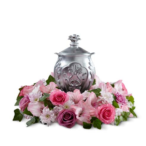 Hot pink and dark purple rose urn flower arrangement with pink gladiolus
