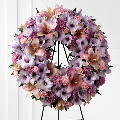 pastel funeral flower wreath delivery from send flowers, sending funeral flowers