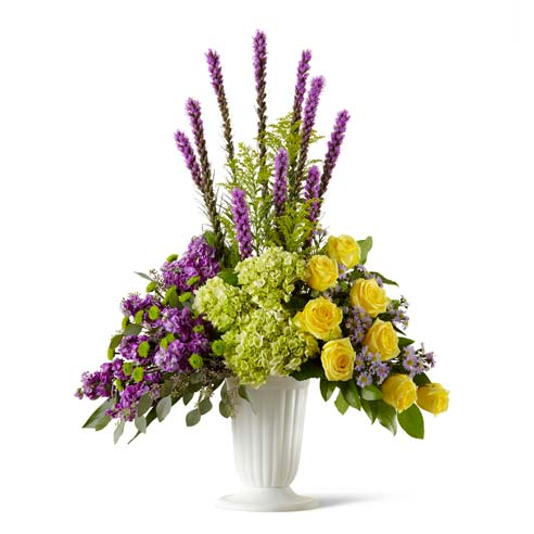 Yellow rose green hydrangea and purple liatris sympathy flowers arrangement