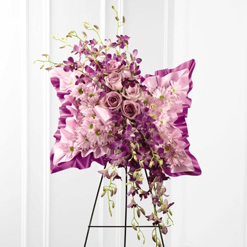 pillow funeral flower arrangement standing spray for same day funeral flowers