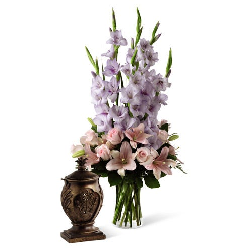 Light Pink roses with pink asiatic lilies with purple gladiolus