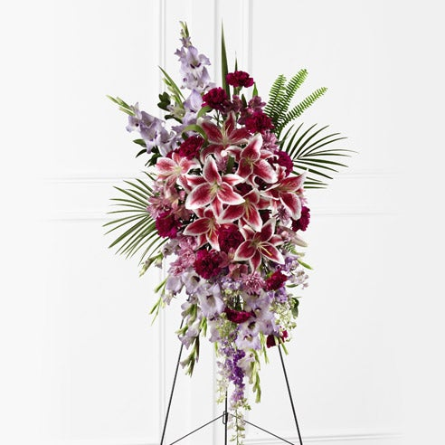 funeral flowers standing spray with stargazer lilies and cheap funeral flowers