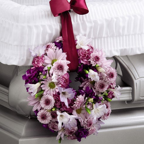 Flowers arrangement for funeral hanging funeral casket wreath arrangement delivery
