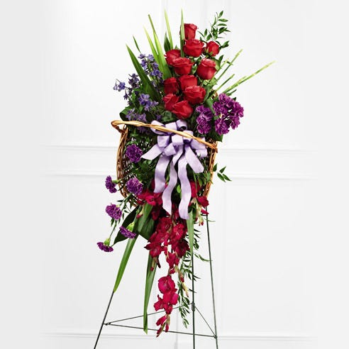 Hot pink rose summer funeral flower standing spray with easel stand