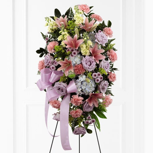 Flowers arrangement for funeral pastel oval flower spray for funerals