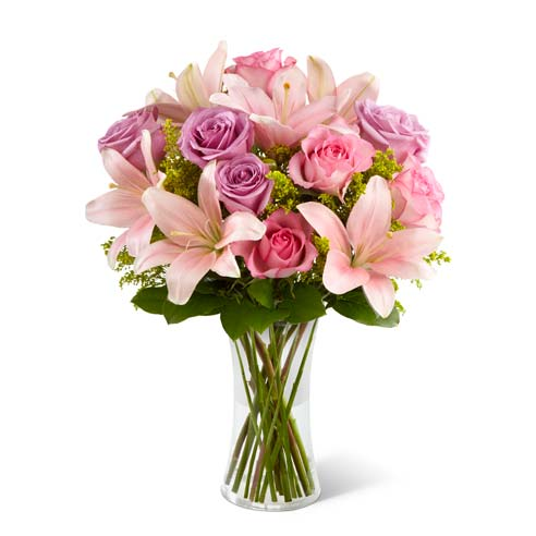 Pink asiatic lilies with purple roses and pink roses