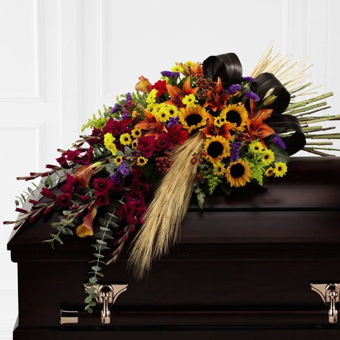 Men's funeral floral arrangement and casket flowers for delivery today