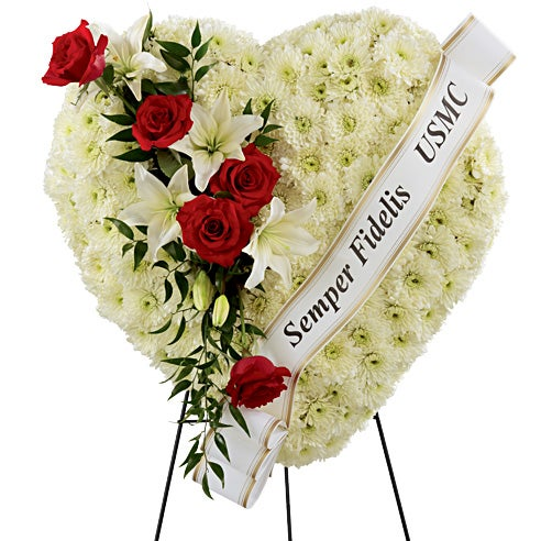 Cheapest standing sprays for funeral service, white rose heart spray for funerals